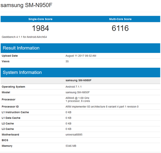 Samsung Galaxy Note 8 был замечен в Geekbench