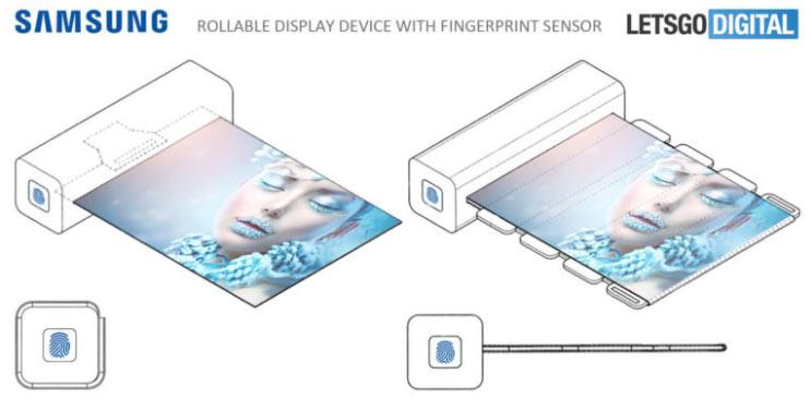Samsung запатентовала раздвижной дисплей с датчиком отпечатков пальцев