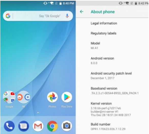 Xiaomi Mi A1 начинает обновляться до Android8.0 Oreo